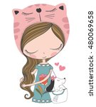 cute girl vector t shirt print... | Shutterstock .eps vector #480069658