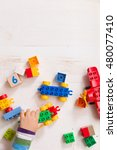 child playing with wooden cubes ... | Shutterstock . vector #480077410