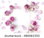 framework from roses on white... | Shutterstock . vector #480081553
