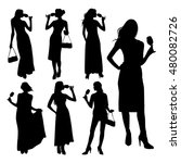 Vector Set Of Silhouette Young...