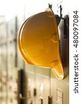 safety helmet hanging on locker ... | Shutterstock . vector #480097084