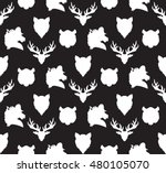 wildlife seamless pattern. zoo... | Shutterstock .eps vector #480105070