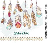 Boho chic feathers and decoration with hand drawn ornament; colorful sketch illustration in bohemian style; native ethnic elements on white background; hipster poster or postcard