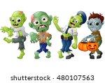 zombie cartoon halloween... | Shutterstock .eps vector #480107563