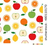 mix fruits pattern on white... | Shutterstock .eps vector #480110170