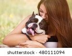 young dog owner girl play with... | Shutterstock . vector #480111094