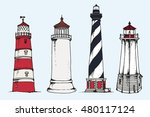 lighthouses collection on blue... | Shutterstock . vector #480117124