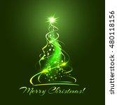 green glow xmas tree  elegant...   Shutterstock . vector #480118156