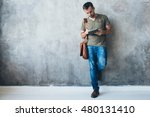 man with tablet and bag... | Shutterstock . vector #480131410
