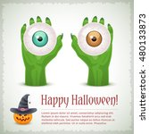 happy halloween card with two...   Shutterstock .eps vector #480133873