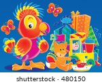 parrot with holiday gifts | Shutterstock . vector #480150