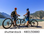 mountain biking. couple with... | Shutterstock . vector #480150880