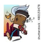 cartoon coffee cup character... | Shutterstock .eps vector #480153478