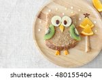 fun holidays owl toast with... | Shutterstock . vector #480155404