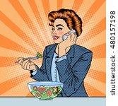 pop art business woman talking... | Shutterstock .eps vector #480157198