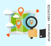 magnifying glass in hand.... | Shutterstock .eps vector #480159328