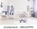 light baby room in marine style ... | Shutterstock . vector #480169990