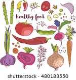collection healthy food of the... | Shutterstock .eps vector #480183550