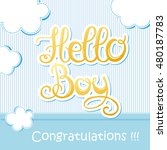 baby shower card   hello girl.... | Shutterstock .eps vector #480187783