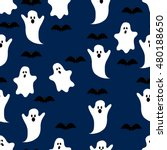 seamless pattern ghost eps8   Shutterstock .eps vector #480188650