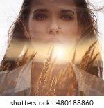 double exposure portrait of a... | Shutterstock . vector #480188860