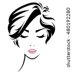 women short hair style icon ...   Shutterstock .eps vector #480192280