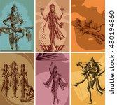 indian god and goddess... | Shutterstock .eps vector #480194860