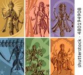 indian god and goddess... | Shutterstock .eps vector #480194908