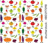 a lot of funny vegetables.... | Shutterstock .eps vector #480197098
