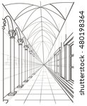 linear architectural sketch... | Shutterstock .eps vector #480198364