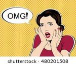 omg the woman in shock pop art... | Shutterstock . vector #480201508