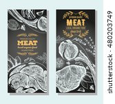 meat banner set. meat flyer...   Shutterstock .eps vector #480203749