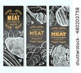 meat banner set. meat flyer... | Shutterstock .eps vector #480203758