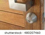wooden door open lock no key | Shutterstock . vector #480207460