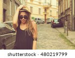 attractive woman posing... | Shutterstock . vector #480219799