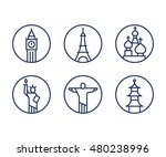 landmarks icons set  world... | Shutterstock .eps vector #480238996