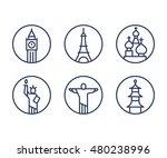 landmarks icons set  world... | Shutterstock .eps vector #480238996