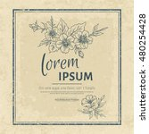 vintage flower card with frame... | Shutterstock .eps vector #480254428