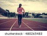 woman fitness sunrise jogging... | Shutterstock . vector #480265483