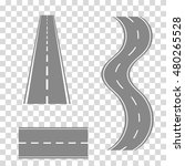 set of curved road or  highway... | Shutterstock . vector #480265528