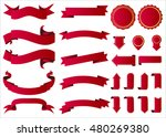 ribbon vector icon red color on ... | Shutterstock .eps vector #480269380