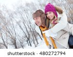 man carrying his girlfriend on... | Shutterstock . vector #480272794