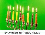 menora of hanuka on greenscreen ... | Shutterstock . vector #480275338