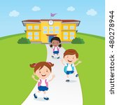 student going home from school. ... | Shutterstock .eps vector #480278944