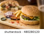 homemade hamburgers with... | Shutterstock . vector #480280120