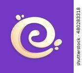 letter e logo in milk  yogurt... | Shutterstock .eps vector #480283318