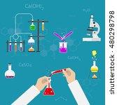 chemists scientists equipment.... | Shutterstock .eps vector #480298798