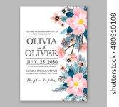 romantic pink peony bouquet...   Shutterstock .eps vector #480310108