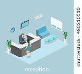 isometric interior of reception.... | Shutterstock .eps vector #480310510