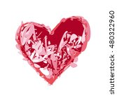 charcoal drawn red heart symbol.... | Shutterstock .eps vector #480322960